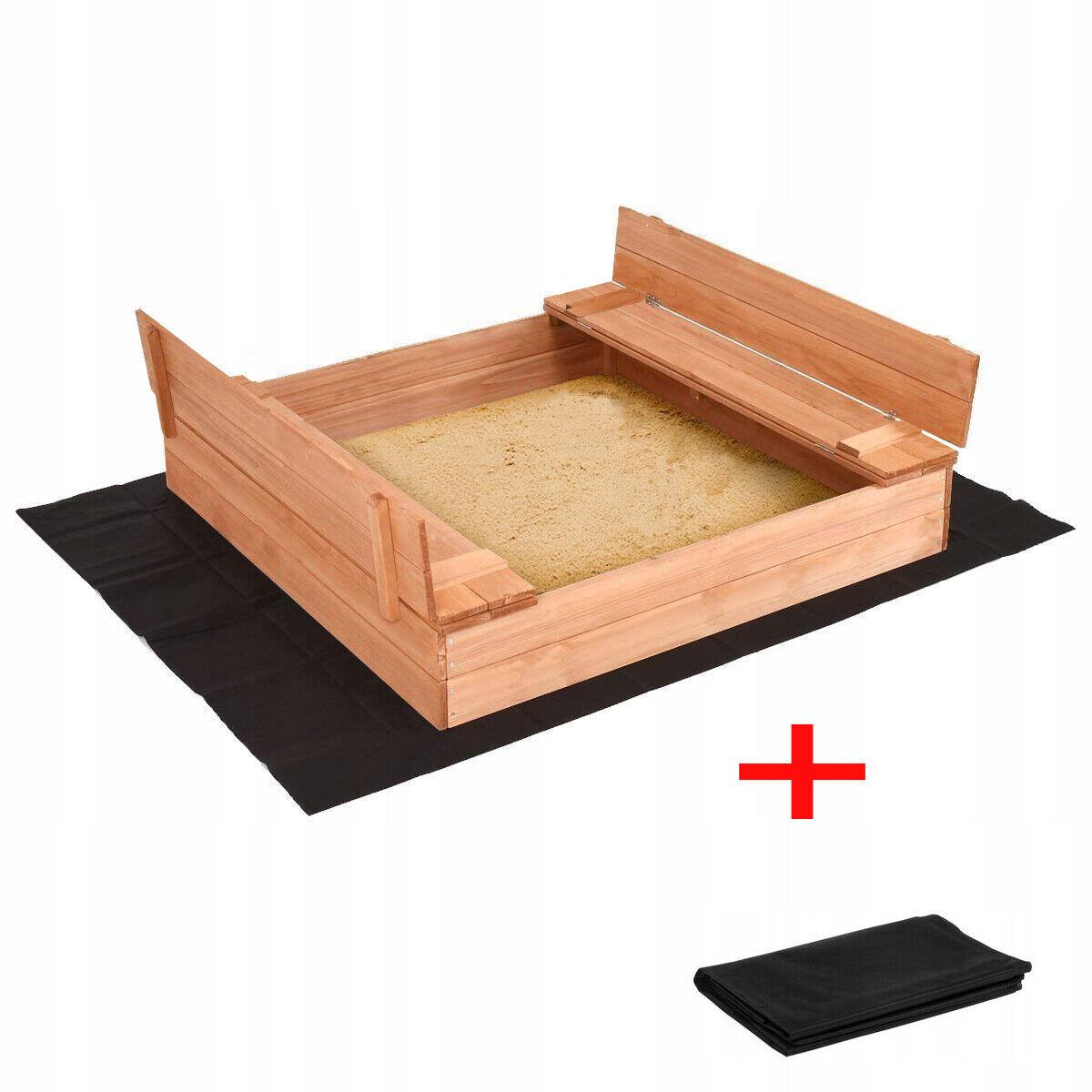 Sandkasten Sandbox mit Deckel SITZBÄNKEN Sandkiste Holz 120x120 cm