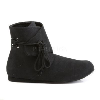 Black Viking Peasant Dark Ages Renaissance Fair Mens Costume Shoes Ankle - Renaissance Peasant Shoes