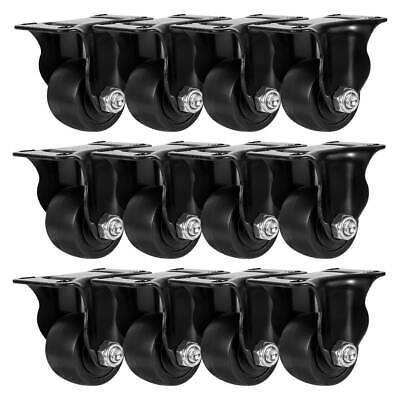 12 Pack 1.5 Inch Low Profile Black Rigid Heavy Duty Polyurethane Casters Wheels