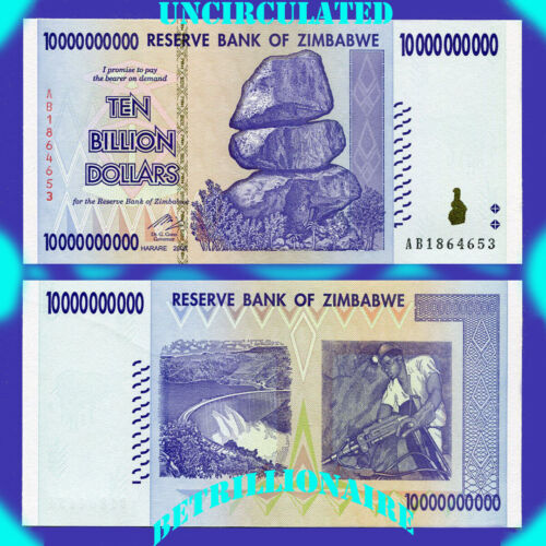 10 BILLION ZIMBABWE DOLLAR, 2008,Uncirculated MONEY CURRENCY[TRILLION 20 50 100]