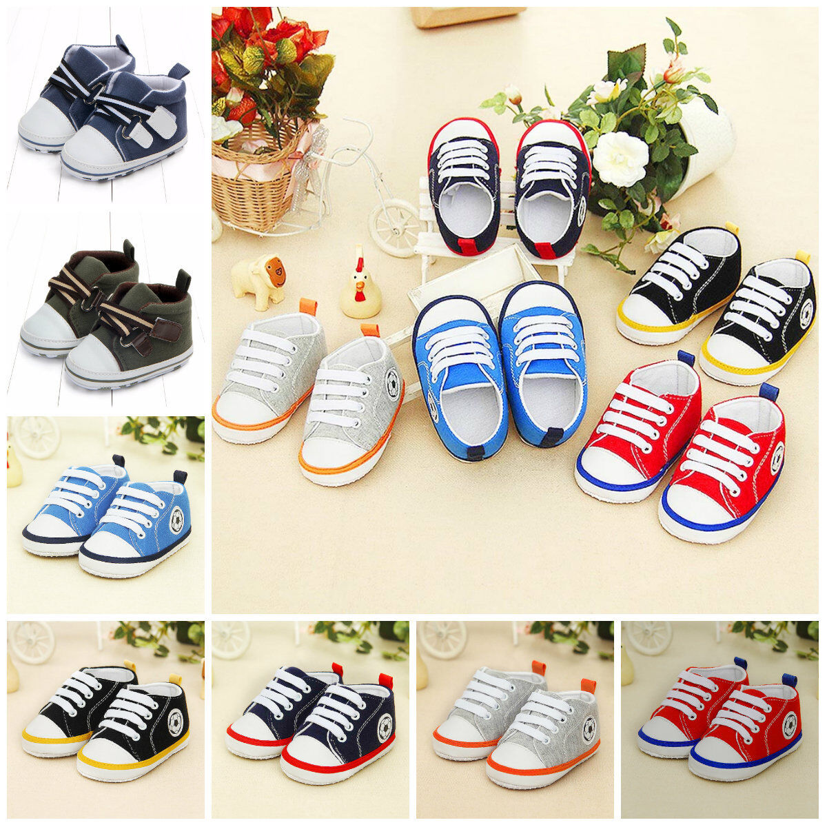0-1 Year Baby Toddlers Print Cotton Sneakers Casual Daily Laces Boy Girls Shoes