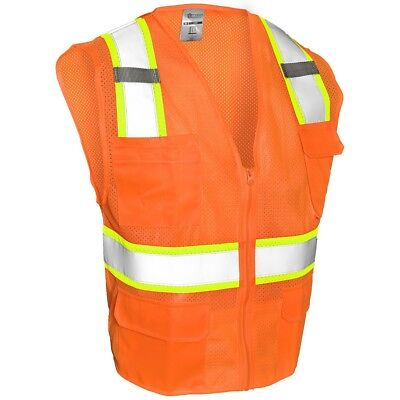 Ml Kishigo Class 2 Reflective Mesh Safety Vest With Pockets Orange