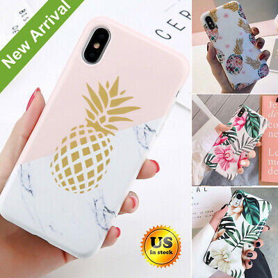 Leaf Phone Cover - Marble Pineapple Leaf Pattern Soft Phone Case Cover iPhone 6s 7 8 Plus XS Max XR