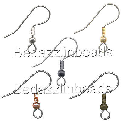 20 Stainless Surgical Steel Ball & Coil Fishhook Hook Earring Findings With Loop Findings Fish Hook