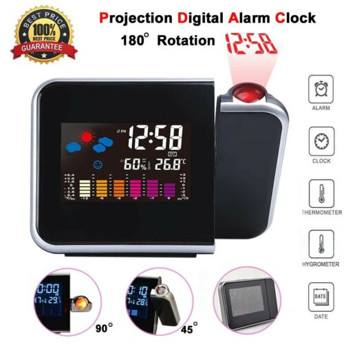 Projection LED Digital Alarm Clock Snooze Weather Thermomete