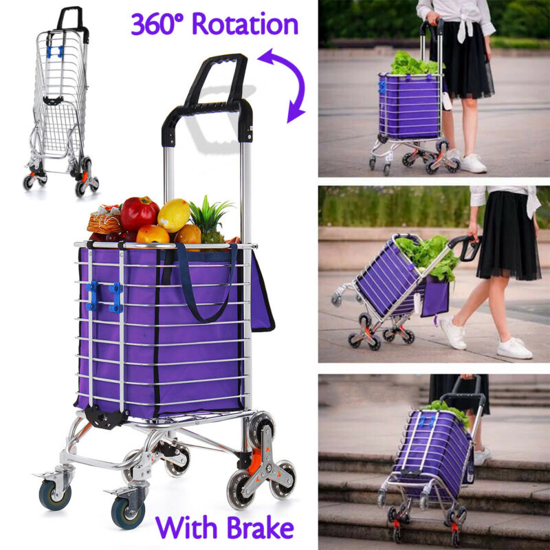 8 Wheels Folding Stair Climbing Shopping Cart Trolley Double Handles w/ Brakes