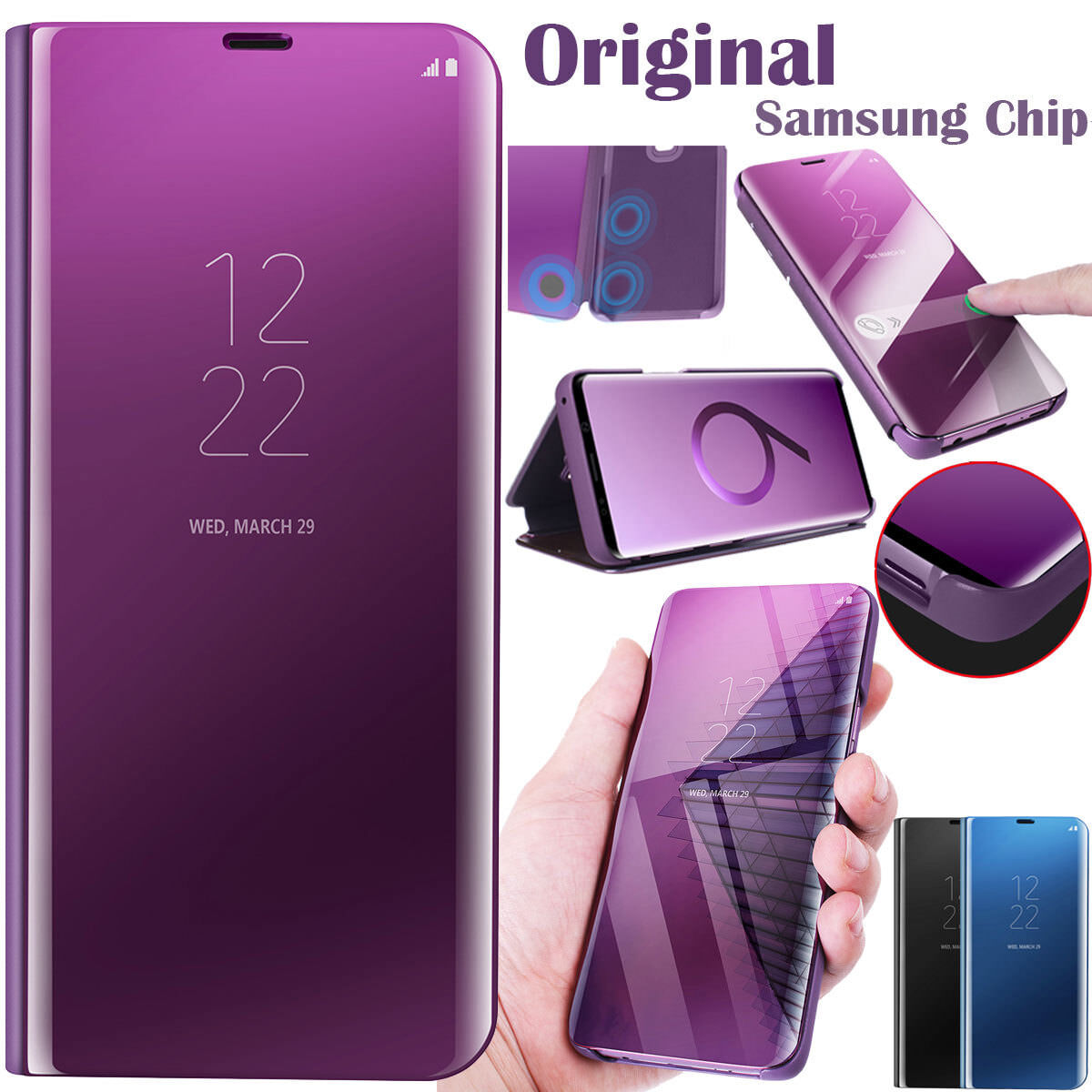 brand new 82cf6 b4b33 Details about S-View Smart Chip Mirror Flip Leather Cover Case For Samsung  Galaxy S9 S8 Plus