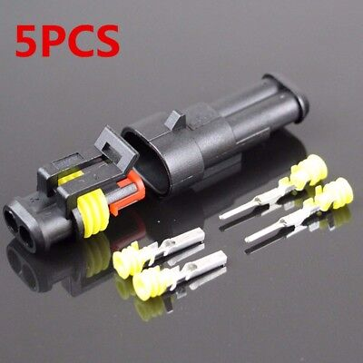 5 Kit 2 Pin Male Male Pin Plug Way Waterproof Electrical Wire Connector Plug LW
