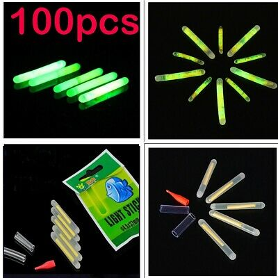 100 x Chemical Light Fishing Fluorescent Glow Stick Clip On the Rod Tip TDPRO