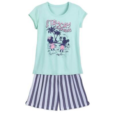 NWT Disney Store Mickey and Minnie Mouse Pajama set PJS Women Adult Shortie