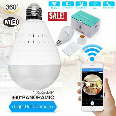 HD 960P Spy Hidden Bulb Camera Home Security WiFi Wireless 360 Panoramic Fisheye