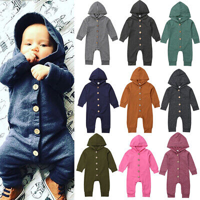 Cotton Baby Kid Boy Girl Newborn Hooded Romper Jumpsuit Bodysuit Clothes Outfits