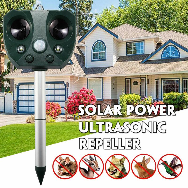 Solar Power Ultrasonic Animal Repeller Pest Repellent Dog Cat Deer Raccoon Garde