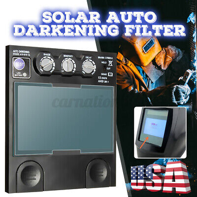 Solar Auto Darkening Filter Glass Big View Area 4 Arc Sensor Helmet Lens Tig Us