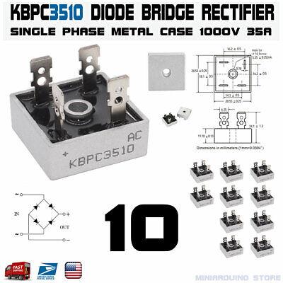 10pcs Kbpc3510 Diode Bridge Rectifier Single Phase Metal Case 1000v 35a Usa
