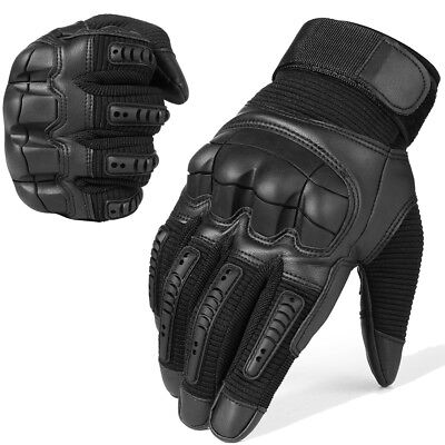 Touch Screen Leather Motorcycle Full Finger Gloves Motorbike Racing Moto Driving ()