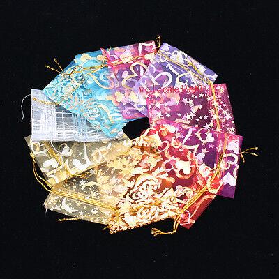 100pcs Mixed Lot 912mm Chiffon Yarn Candy Bag Gift Bag Pouch Wedding Jewelry