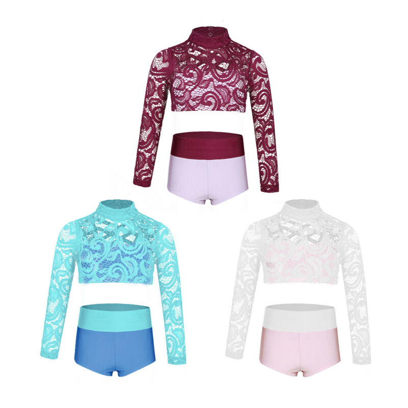 Girls Lace 2 Pieces Dance Outfit High Neck Crop Top with High Waisted Shorts Set