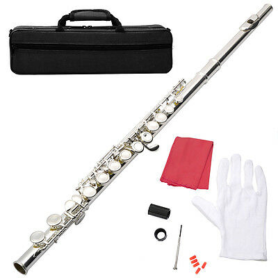 BRAND NEW SILVER SCHOOL BAND STUDENT C FLUTE W/KIT CASE GLOVES on Rummage