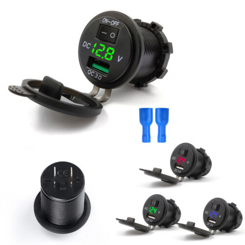 12/24V Push Switch Car Marine Boat ATV Green LED Voltmeter USB 3.0 Quick Charger