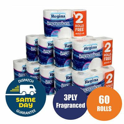 60 Roll of Regina Impressions 3 Ply Toilet Tissue Paper Roll