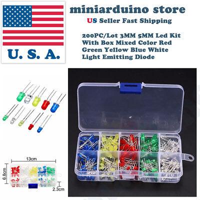 200pcs 3mm 5mm Led Light White Yellow Red Blue Green Assortment Diodes Kit Box