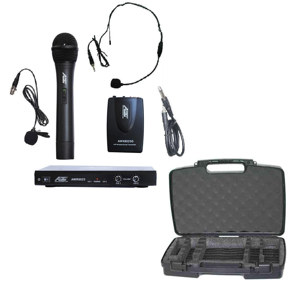 Audio2000'S 6023 VHF Dual Channel Wireless Microphone System W/CASE, COMBO-NEW