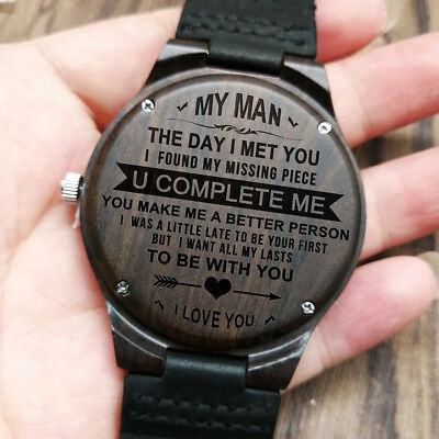My Man A Better Person Engraved Wooden Husband Watch Anniversary Birthday