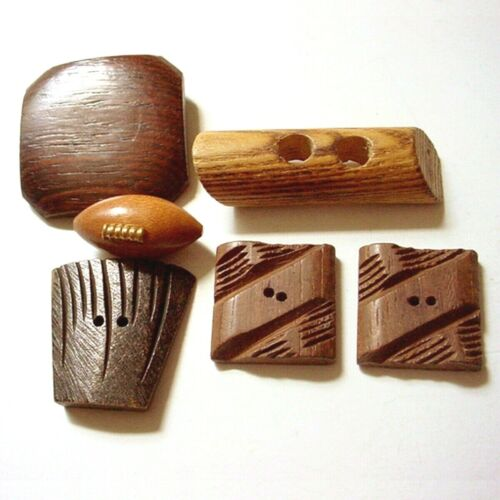 6 VINTAGE WOOD BUTTONS REALISTIC FOOTBALL SHAPES TOGGLE CARVED ASSORTED