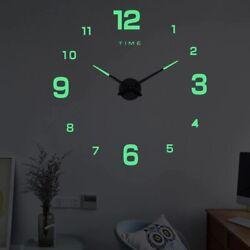 27 Luminous Modern 3D DIY Wall Clock Silent Glow In The Dark Quartz Indoor Deco