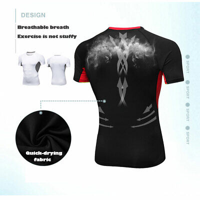 US Mens Sport Compression Base Layer Gym Short Sleeve Tee Tight T-Shirt Fitness