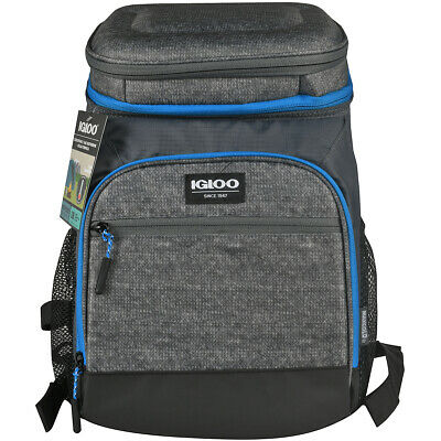 IGLOO MaxCold Insulated Cooler Backpack - Black/Silver/Blue