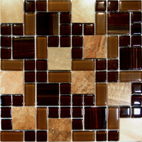 Sample Square Pattern Wooden Gray Marble Stone Glass: 1SF-Brown Random Square Pattern Marble Stone & Glass