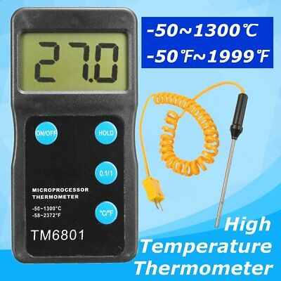 K Type Digital High Temperature Thermometer Pyrometer Probe Set 1300c 2327f