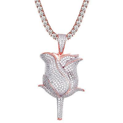 (Custom 14K Rose Gold Finish Rose Flower Pendant Set Iced Out Simulated Diamonds )