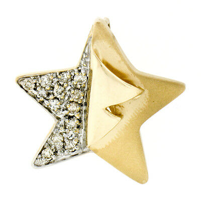 Tt Peel (Large 14K TT Gold 0.50ctw Round Brilliant Diamond Sandblast Peel Star Pendant)