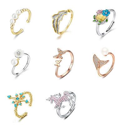 Voroco DIY Open Finger Ring Mermaid Unicorn S925 Sterling Silver Women Jewelry - Unicorn Rings
