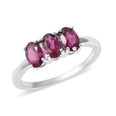925 Sterling Silver Rhodolite Garnet Trilogy 3 Stone Ring Gift Jewelry Ct -