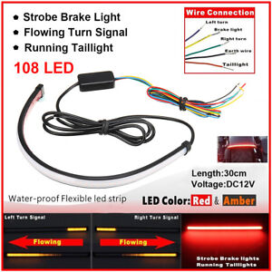 Motorcycle Sequential Switchback Flowing LED Tail Brake Turn Signal Strip Lights