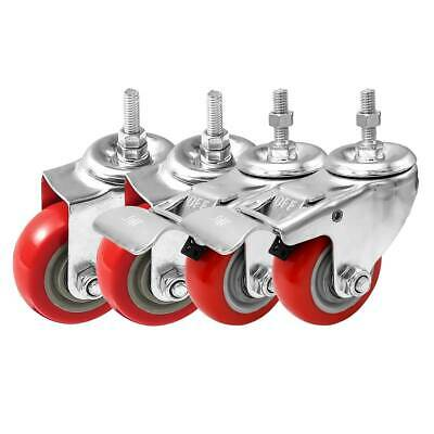 4 Pack Combo 3 Stem Casters Red Pu Caster Wheels 2 No Brake 2 Front Brake