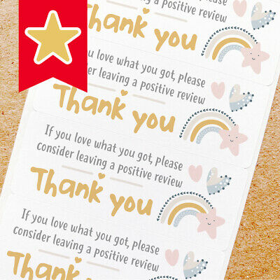 Thank You Labels Stickers For Online Shop Sellers 100ct - Pastel Rainbow