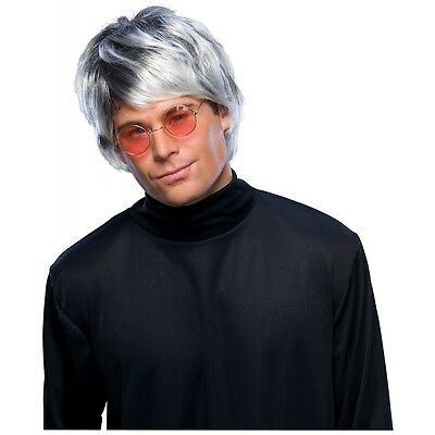 Grey Pop Star Wig Adult Men Shag Mod Beatles Mop 60s 70s Halloween Costume Acsry - 70s Mens Wig