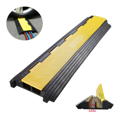 TECHTONGDA 2-Channel Rubber Electrical Wire Cover Protector Speed Bumps