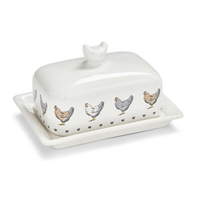 Cooksmart Farmers Kitchen Butter Dish Covered Country Style Hens Cream Breakfast