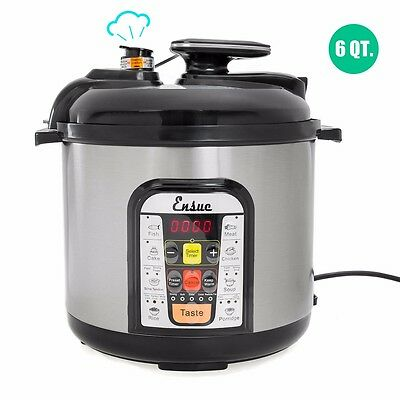 Ensue 6-Quart 1000W Electric Pressure Cooker steam pot Brushed Stainless Steel
