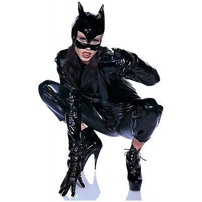Black Vinyl Cat Woman Mask Womens Halloween Fancy Dress Costume Accessory - Vinyl Catwoman Mask