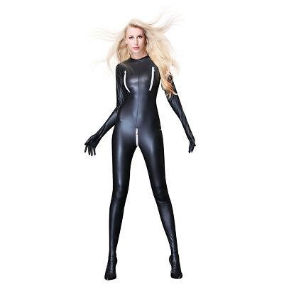 Black Women Latex Leather Full Body Suit Zipper Open Bust Crocth Catsuit - Latex Suit Women