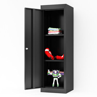 Metal Kids Storage School Home Cabinet With Locker 2adjustable Shelves Black