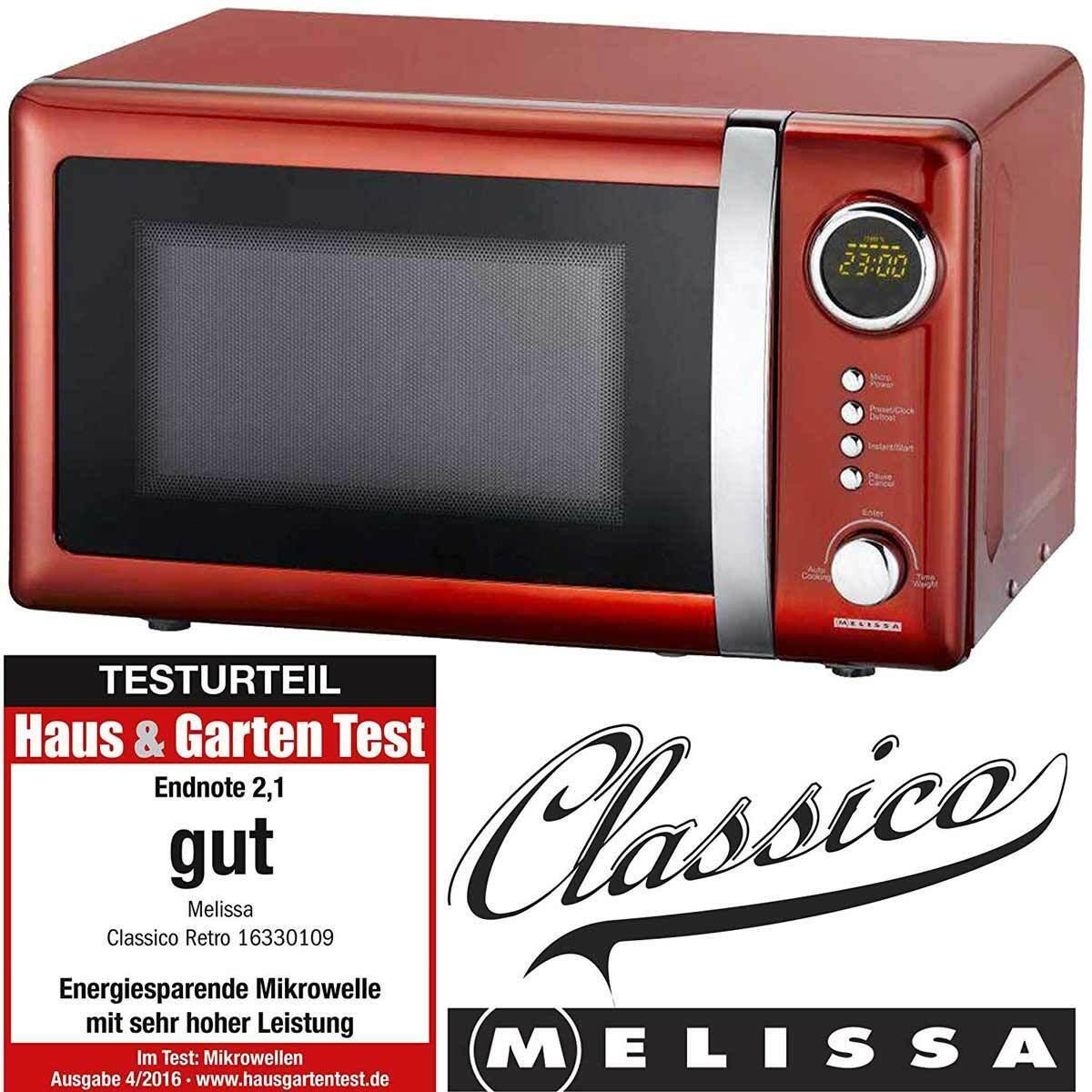 Digitale Mikrowelle rot metallic Melissa 16330109 Mikrowellenherd digital