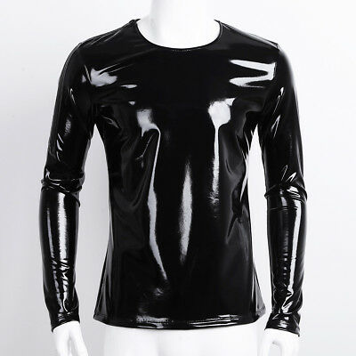 Casuals Long Sleeve Tee (Mens Long Sleeve Leather Popular Tops Zipper Pullover Tees T Shirt Casual Blouse)